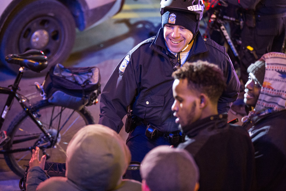8:18 p.m. – Interaction between police and protesters seems cordial. Another photographer friend, Lauren, said she witnessed police high fiving protesters.