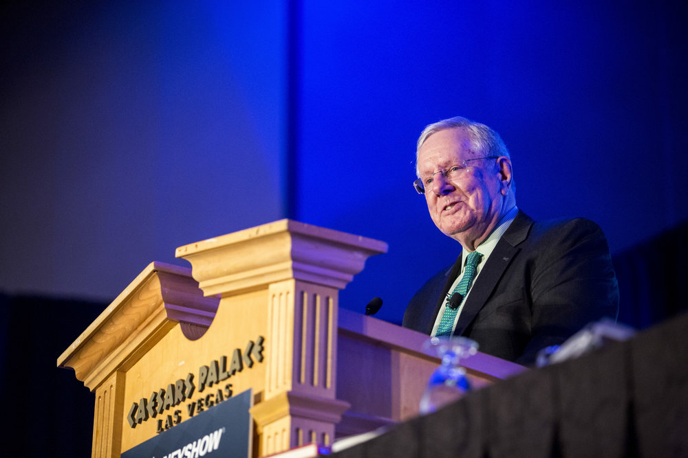 "Steve Forbes speaks about ""What Should Trump Do Now for a Great Economy?"" at the MoneyShow at Caesars Palace in Las Vegas on Monday, May 15, 2017. Patrick Connolly Las Vegas Review-Journal @PConnPie"