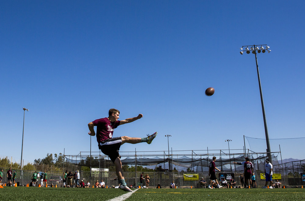 Jonathan Rukujzo of Illinois practices punting during the Chris Sailer Kicking National Camp in Las Vegas on Sunday, May 14, 2017. Patrick Connolly Las Vegas Review-Journal @PConnPie