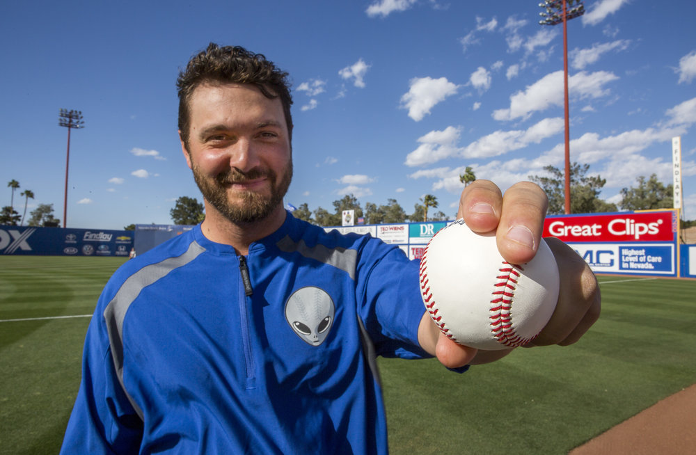51s pitcher Josh Smoker demonstrates his slider grip at Cashman Field on Wednesday, May 17, 2017. Patrick Connolly Las Vegas Review-Journal @PConnPie