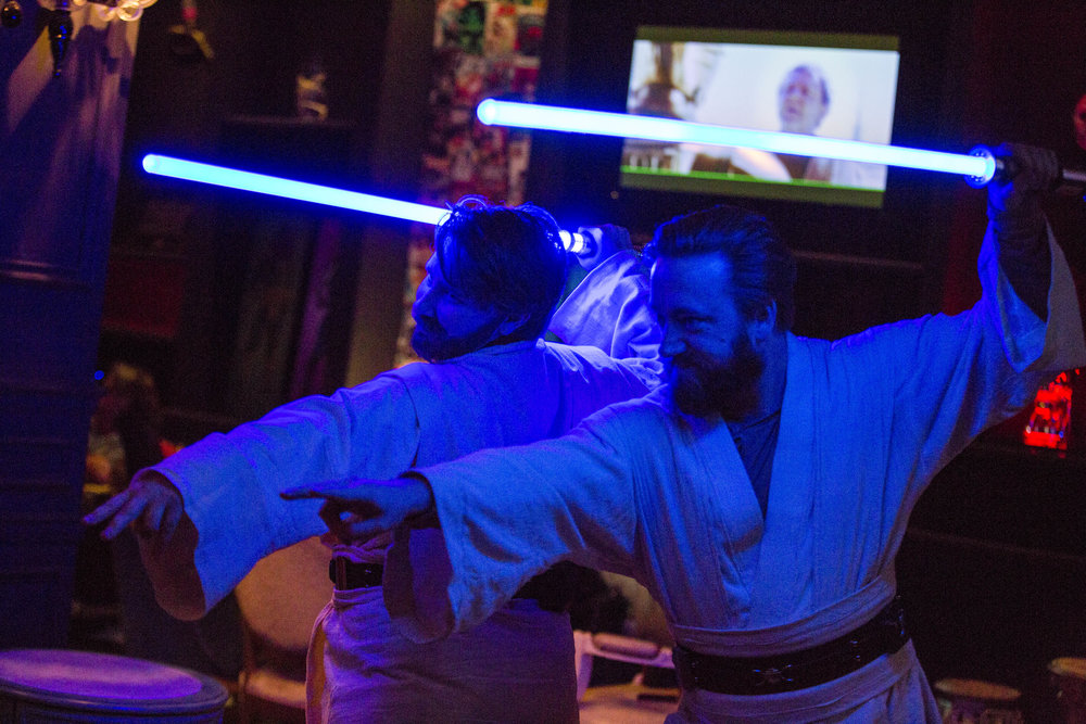 Rebecca Zobell, left, and Jack Stuart, both dressed as Obi Wan Kenobi, pose for their friends as they celebrate the 40th anniversary of the release of Episode IV – A New Hope at the Millennium Fandom Bar in the Arts District on Thursday, May 25, 2017. Patrick Connolly Las Vegas Review-Journal @PConnPie
