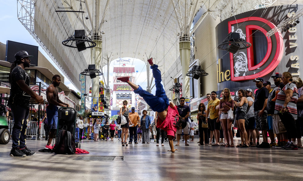 """Jet"" of the YAK (You Already Know) Dance Crew perform on Fremont Street on Thursday, May 25, 2017. Patrick Connolly Las Vegas Review-Journal @PConnPie"
