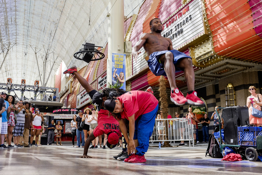 Members of the YAK (You Already Know) Dance Crew perform on Fremont Street on Thursday, May 25, 2017. Patrick Connolly Las Vegas Review-Journal @PConnPie