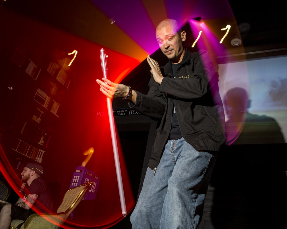 Jon Paul, who formerly played Darth Maul and a stormtrooper, shows off his lightsaber skills as he celebrates the 40th anniversary of the release of Episode IV � A New Hope at the Millennium Fandom Bar in the Arts District on Thursday, May 25, 2017. Patrick Connolly Las Vegas Review-Journal @PConnPie