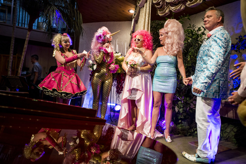 The Liberace-themed wedding of Andrea Cambridge and Chuck Varga at the Viva Las Vegas Wedding Chapel on Saturday, June 3, 2017.  Patrick Connolly Las Vegas Review-Journal @PConnPie