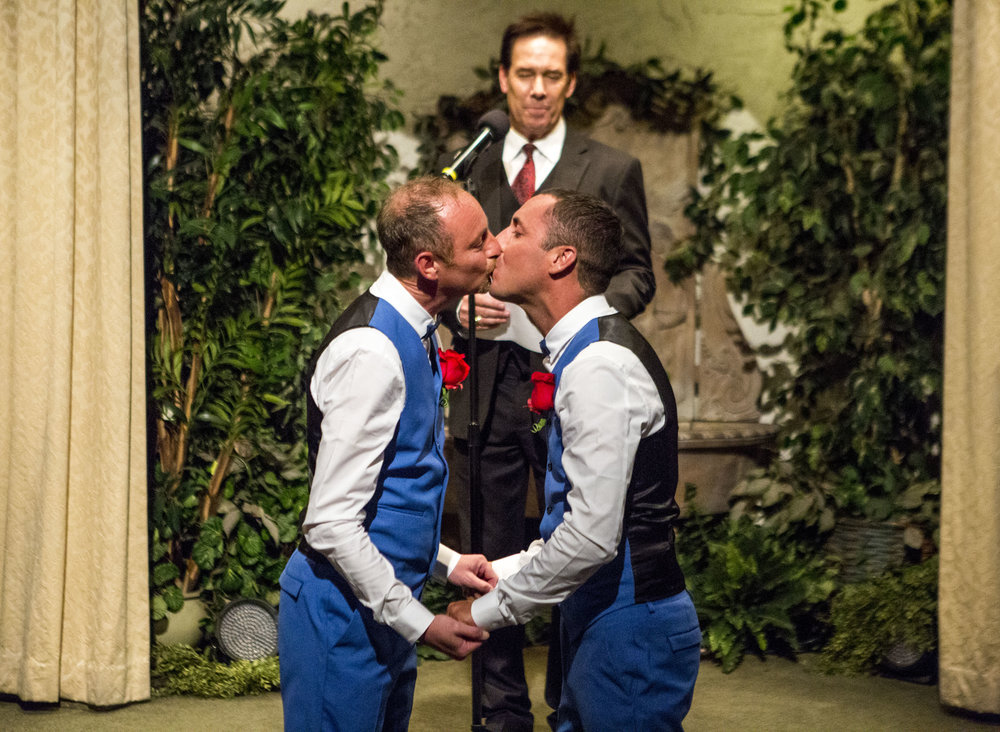 Lee McCulloch, right, and Stuart Dootson of Folkstone, England, kiss during their wedding at the Viva Las Vegas Wedding Chapel on Saturday, June 3, 2017.  Patrick Connolly Las Vegas Review-Journal @PConnPie