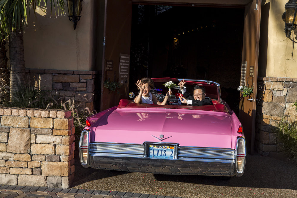 Garry and Julie Kim leave the chapel in a pink Cadillac after renewing their wedding vows at the Viva Las Vegas Wedding Chapel on Saturday, June 3, 2017.  Patrick Connolly Las Vegas Review-Journal @PConnPie