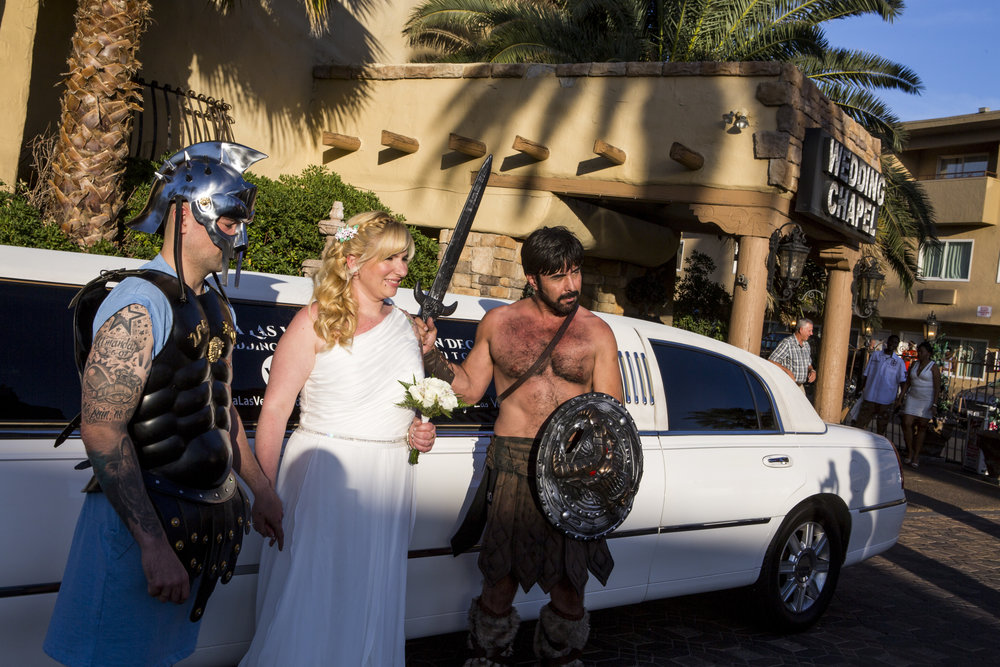 Amanda Gancedo and Marcos Gonzalez of Oviedo, Spain, take photos after their gladiator-themed wedding at the Viva Las Vegas Wedding Chapel on Saturday, June 3, 2017.  Patrick Connolly Las Vegas Review-Journal @PConnPie
