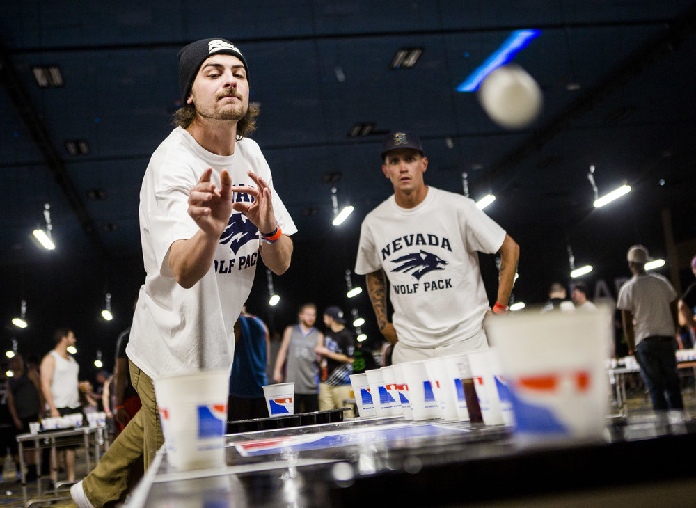 Brent Moyle of Reno practices during the World Series of Beer Pong at the Westgate Las Vegas on Sunday, June 4, 2017. Patrick Connolly Las Vegas Review-Journal @PConnPie