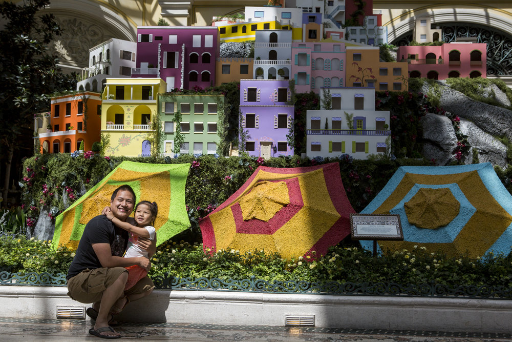 Kenny Nguyen and his daughter Serena, 4, of Garden Grove, California, take a photo together during the opening of the new Italian-inspired display in the Bellagio's conesrvatory on Monday, June 12, 2017.  Patrick Connolly Las Vegas Review-Journal @PConnPie