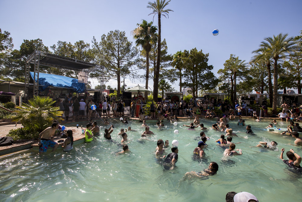 Concert-goers cool off in the Nirvana Pool at Vans Warped Tour at the Hard Rock Hotel and Casino on Friday, June 23, 2017.  Patrick Connolly Las Vegas Review-Journal @PConnPie