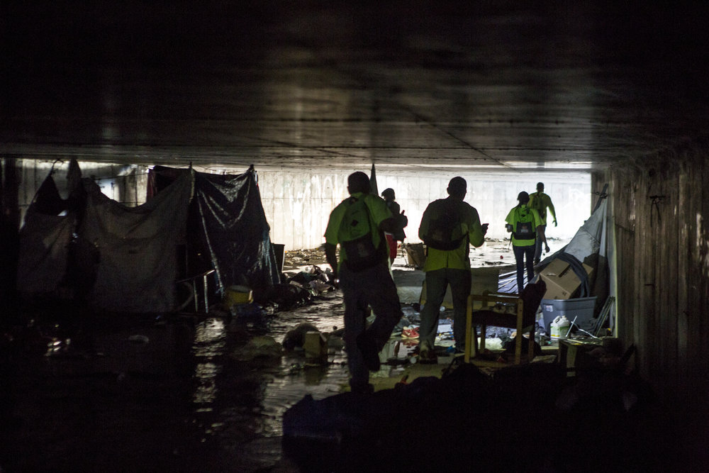 The HELP of Southern Nevada team exits a flood tunnel near the Hard Rock Hotel and Casino on Tuesday, June 27, 2017.  Patrick Connolly Las Vegas Review-Journal @PConnPie