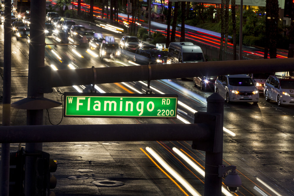 Cars pass by on Las Vegas Boulevard at the intersection of Flamingo Road on Monday, June 26, 2017.  Patrick Connolly Las Vegas Review-Journal @PConnPie