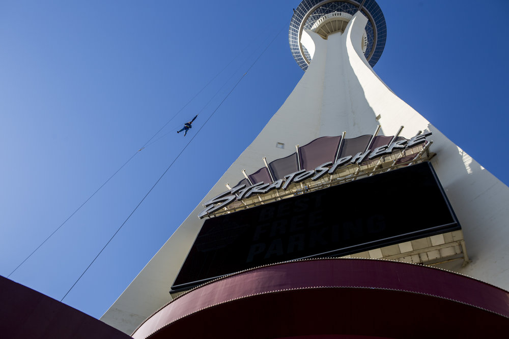 A thrill seeker falls to the earth while riding SkyJump at the Stratosphere on Monday, June 12, 2017. Golden Entertainment is acquiring a company that owns four Nevada casinos, including the Stratosphere, for $850 million.