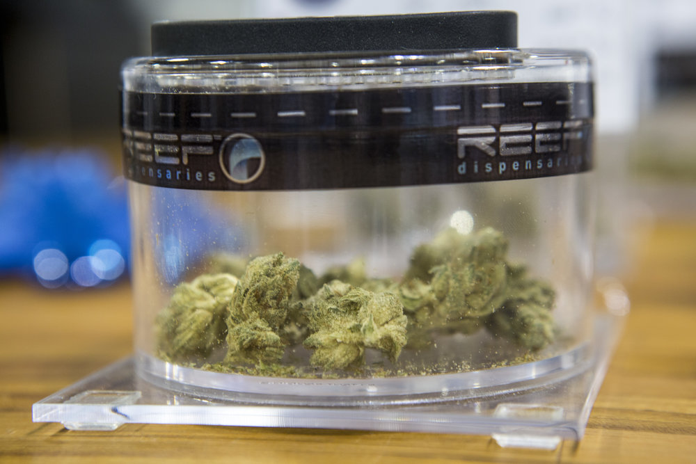 "Marijuana buds of the strain ""Red Eye OG"" in a jar at Reef Dispensaries near the Las Vegas Strip on Thursday, June 29, 2017.  Patrick Connolly Las Vegas Review-Journal @PConnPie"