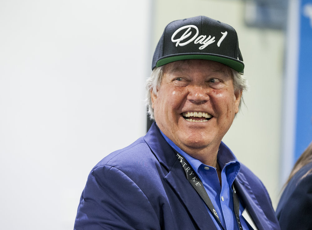 "Sen. Tick Segerblom, D-Las Vegas, wears a ""Day 1"" hat, a reference to the first day of recreational marijuana sales on July 1, after a press conference at Reef Dispensaries near the Las Vegas Strip on Thursday, June 29, 2017.  Patrick Connolly Las Vegas Review-Journal @PConnPie"