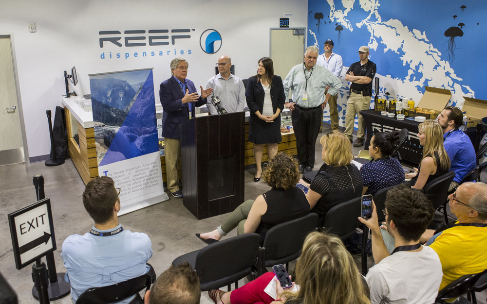(left to right) Sen. Tick Segerblom, D-Las Vegas, Andrew Jolley, president of the Nevada Dispensary Association, Riana Durrett, the association's executive director, and Clark County Commission Chairman Steve Sisolak during a press conference leading up to the start of recreational marijuana sales in Las Vegas, which begin July 1, at Reef Dispensaries near the Las Vegas Strip on Thursday, June 29, 2017.  Patrick Connolly Las Vegas Review-Journal @PConnPie