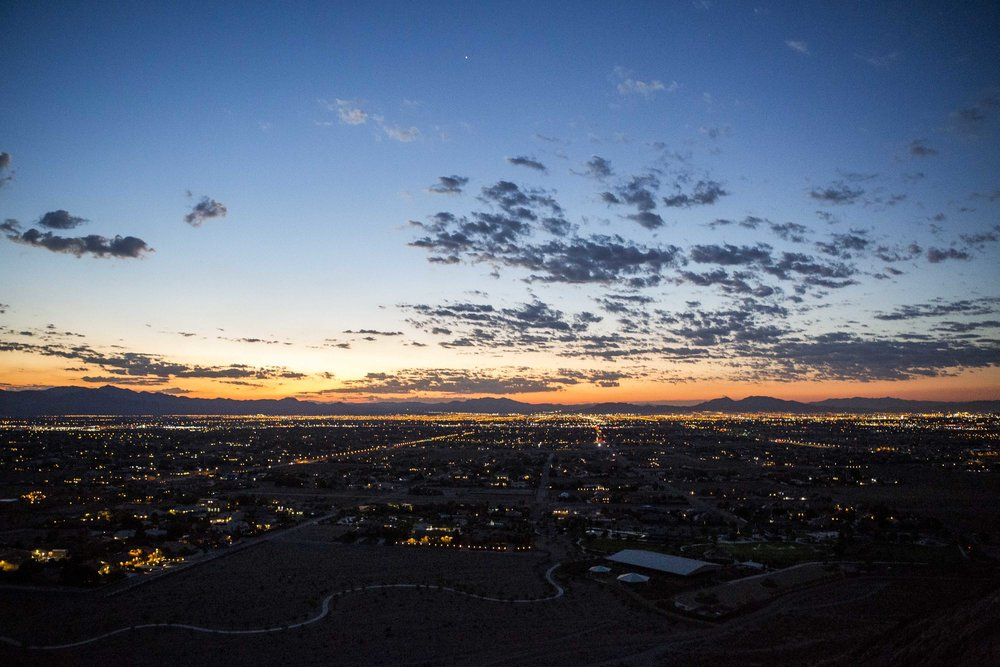 A pre-sunrise view of the Las Vegas Valley from Lone Mountain on Tuesday, Aug. 8, 2017.  Patrick Connolly Las Vegas Review-Journal @PConnPie