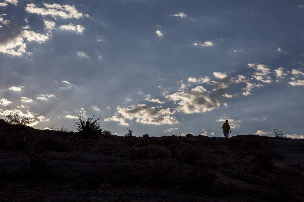A man hikes up Lone Mountain just after sunrise on Tuesday, Aug. 8, 2017.  Patrick Connolly Las Vegas Review-Journal @PConnPie