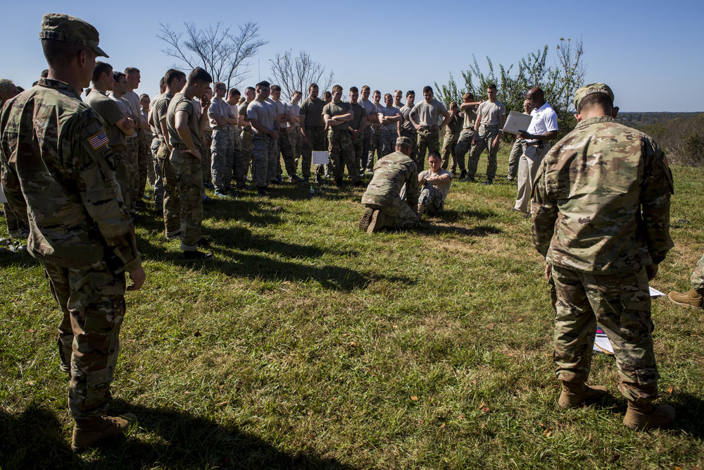 Cadets gather for the push-up and sit-up contest. Some cadets were able to achieve over 100 push-ups in two minutes.