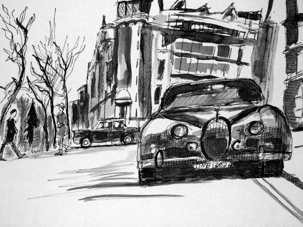 London Noir 1 (Ink and Wash on Paper)