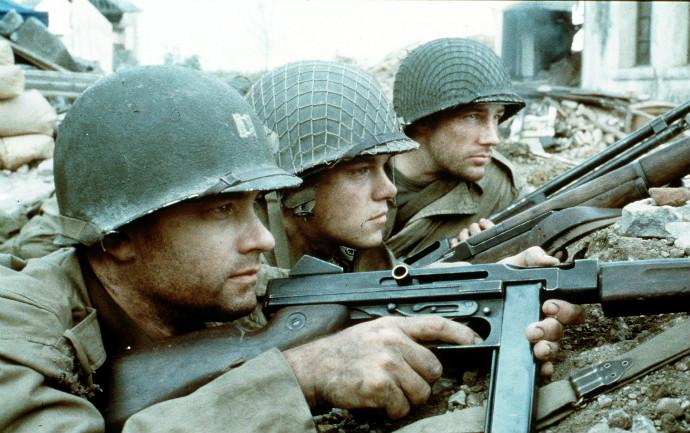 Tom Hanks, Matt Damon, and Ed Burns in  Saving Private Ryan  (Image © Dreamworks)