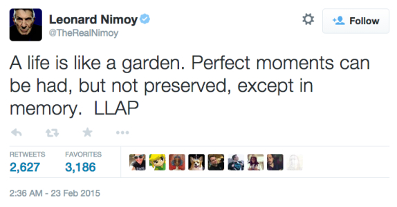 Nimoy's final message to his fans.