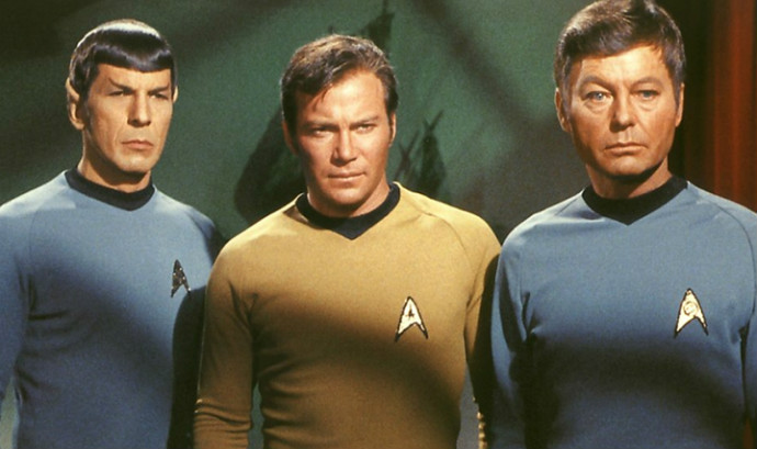 Nimoy as Spock, alongside William Shatner's Captain Kirk and DeForest Kelley's Dr. McCoy (Image © Paramount).