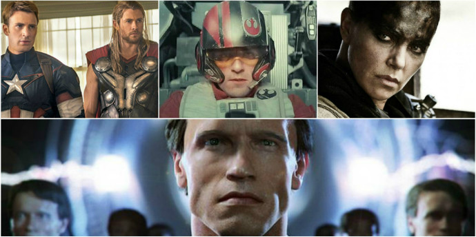 Avengers: Age of Ultron (Image © Marvel), Star Wars: The Force Awakens (Image © Disney), Mad Max: Fury Road (Image © Warner Bros.), Terminator: Genisys (Image © Paramount Pictures)