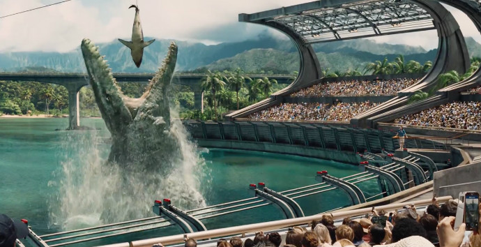 And the thing jumping out of the water is what they feed Chris Pratt (Image © Universal Pictures).
