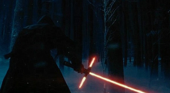 Something called Kylo Ren, wielding something that J.J. Abrams claims is a lightsaber (Image © Disney).