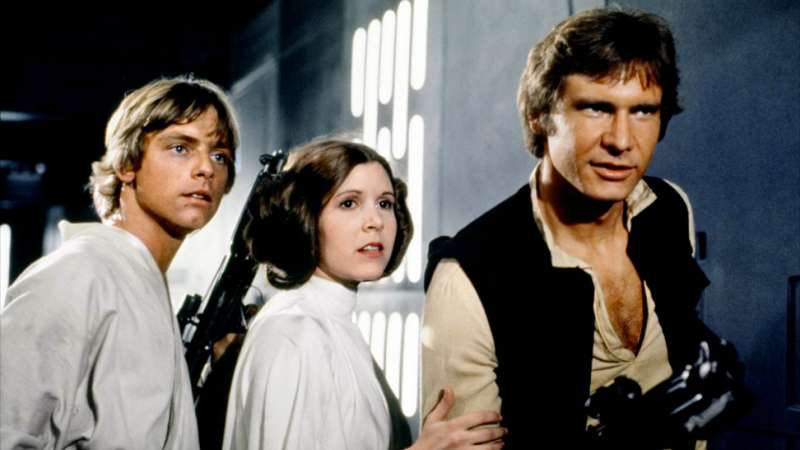 Mark Hamill, Carrie Fisher, and Harrison Ford in the original Star Wars (Image  ©  Lucasfilm).