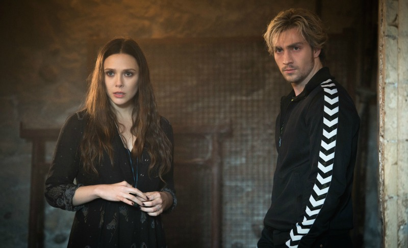 "Scarlet Witch (Elizabeth Olson) and Quicksilver (Aaron Taylor-Johnson), about to vaporize the next asshole who requests ""Landslide"" (Image  ©  Marvel)."