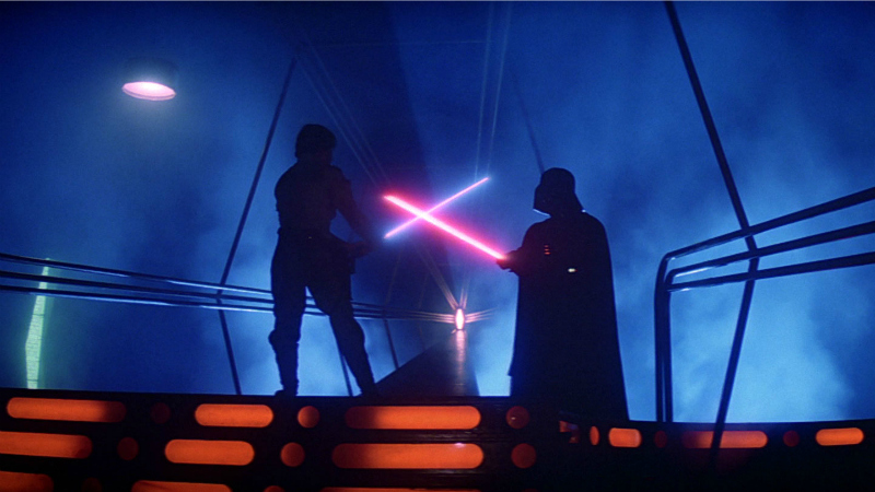 Luke Skywalker gets ready to take on Darth Vader in the climactic duel from The Empire Strikes Back (Image © Lucasfilm).