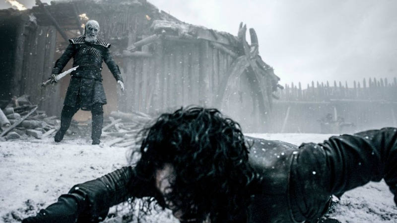 "Jon Snow faces down a White Walker in the Game of Thrones episode ""Hardhome"" (Image  ©  HBO)."