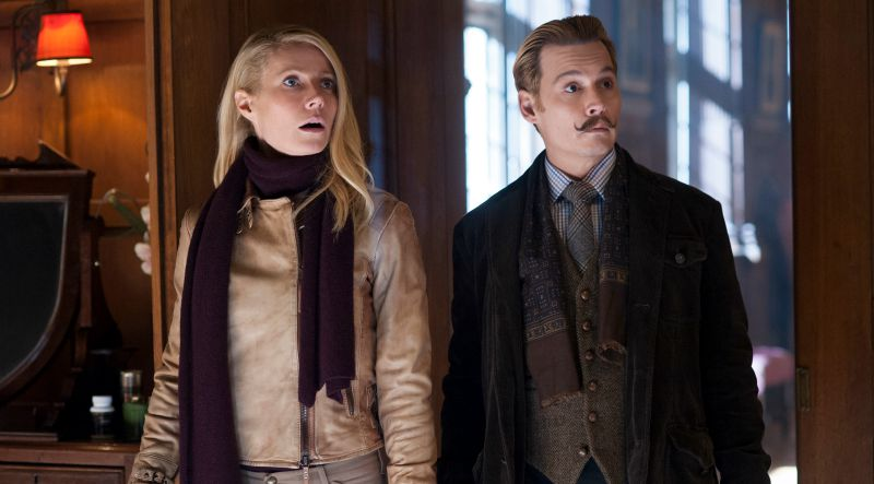 Gwyneth Paltrow and Johnny Depp, looking surprised to be in a movie as terrible as Mortdecai (Image  ©  Lionsgate).