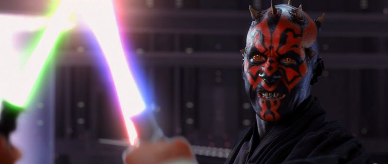 Darth Maul, very menacing for all of his ten minutes of screen time in The Phantom Menace (Image  ©  Lucasfilm/Disney).