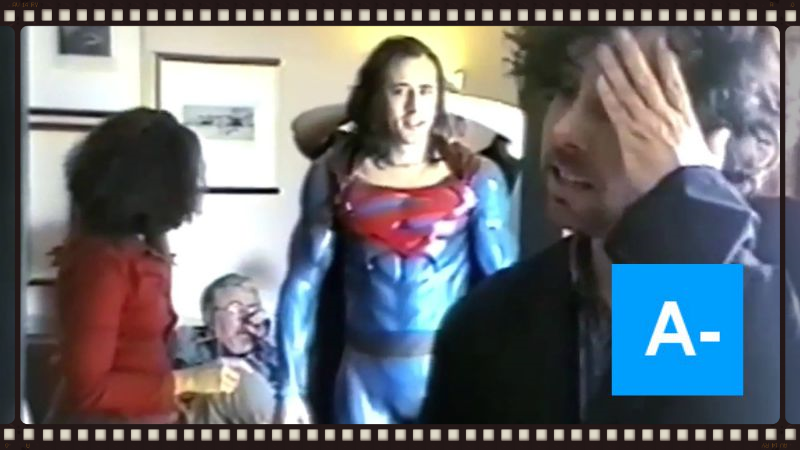Nic Cage as a long-haired Superman, along with Tim Burton, in behind-the-scenes footage from the failed Superman Lives project.