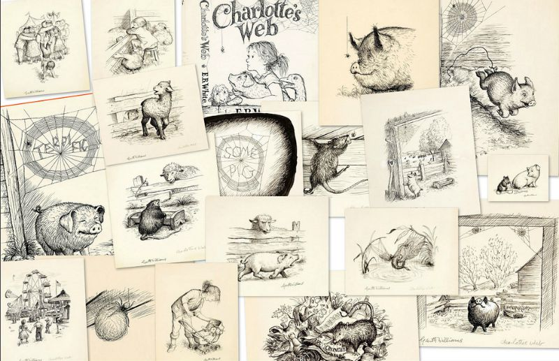 A collage of Garth Williams' original illustrations for E.B. White's classic children's novel, Charlotte's Web (Image  ©  Flickr user  Paul K ).
