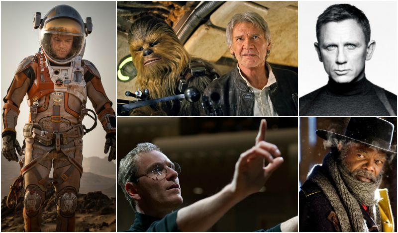 Clockwise, from top left: Matt Damon in The Martian (Image © 20th Century Fox ); Peter Mayhew and Harrison Ford in Star Wars: The Force Awakens (Image © Lucasfilm/Disney); Daniel Craig in Spectre (Image © Sony); Samuel L. Jackson in The Hateful Eight (Image © The Weinstein Company); Michael Fassbender in Steve Jobs (Image © Universal Pictures).