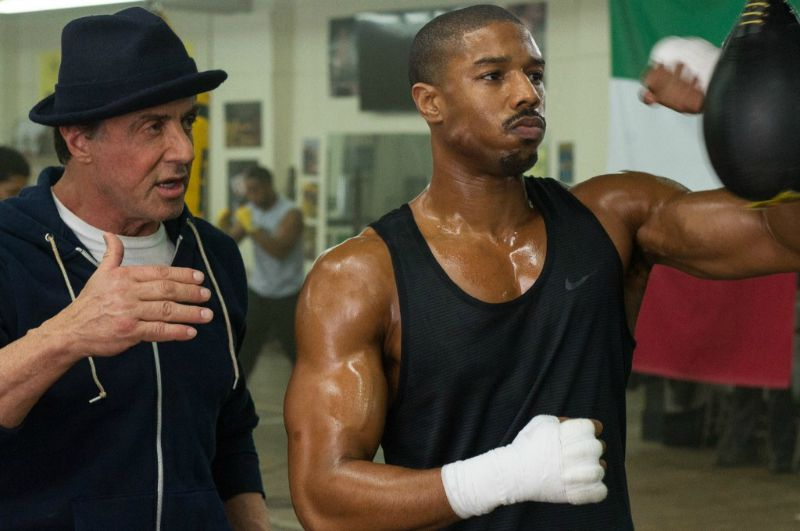 Sylvester Stallone and Michael B. Jordan in Creed (Image © Warner Bros.)