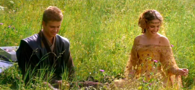 Hayden Christensen and Natalie Portman display the natural romantic chemistry that made the love story in  Attack of the Clones  such a success (Image © Lucasfilm).