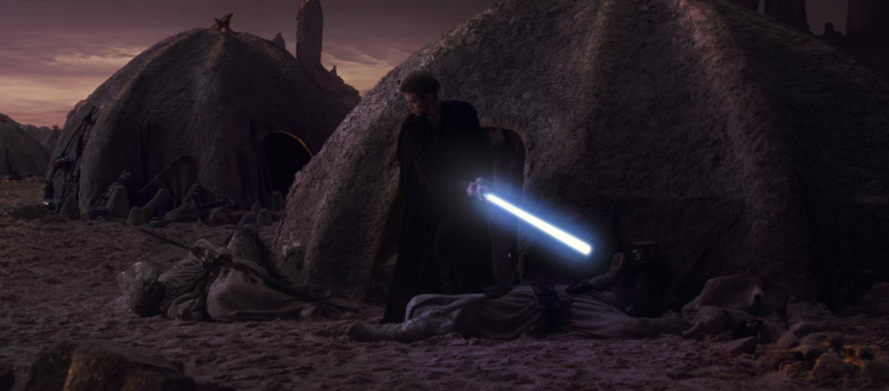 Anakin Skywalker slaughters the Tusken Raiders who tortured and killed his mother (Image © Lucasfilm).