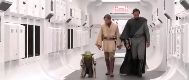 Yoda, Obi Wan Kenobi, and Bail Organa walks the halls of the Tantive IV, the setting for the first scenes of the original Star Wars (Image  ©  Lucasfilm).