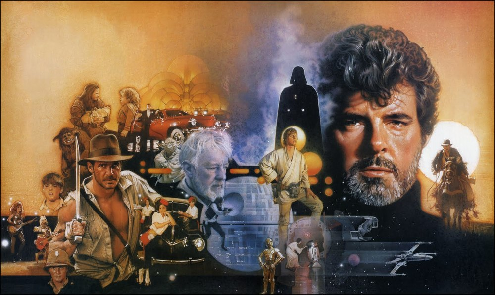 George Lucas surrounded by the characters he's created, by long-time Star Wars artist Drew Struzan (Image © Drew Struzan).