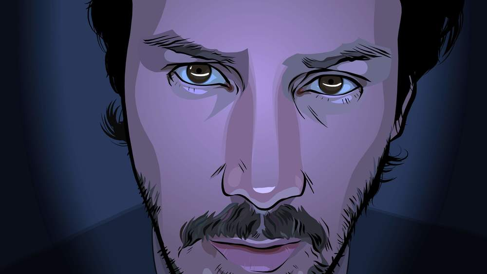 Keanu Reeves appears in rotoscoped form in A Scanner Darkly (Image © Warner Bros.)