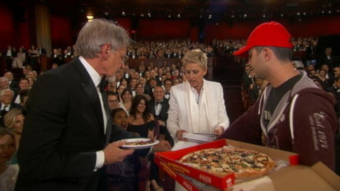 Harrison Ford, Ellen DeGeneres, and some poor, overwhelmed pizza delivery guy.