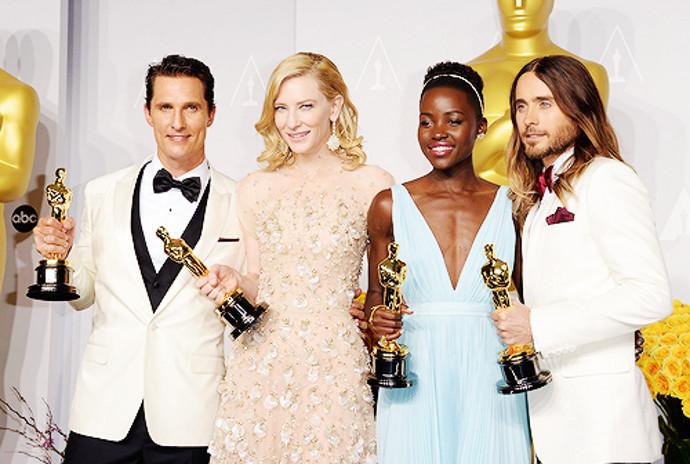 2014 Oscar winners: Matthew McConaughey, Cate Blanchett, Lupita Nyong'o, and Jared Leto.