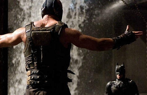 Bane challenges Batman in The Dark Knight Rises (Image © Warner Bros.)