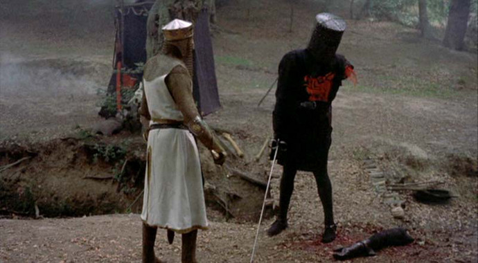 Pictured: a flesh wound (Image © EMI Films).